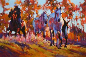 "SOLD ""Firelight Fall Roundup,"" by Mike Svob 24 x 36 - acrylic $5145 Unframed"