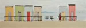 """SOLD """"For Rent,"""" by Louise Lauzon 10 x 30 – acrylic $800 Unframed"""