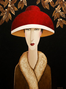 "SOLD ""Francesca and the Garden,"" by Danny McBride 18 x 24 – acrylic $2350 (thick canvas wrap without frame)"