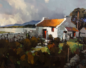 "SOLD ""Galway Bay on a Soft Day,"" by Michael O'Toole 24 x 30 – acrylic $2780 Unframed $3250 Custom framed"