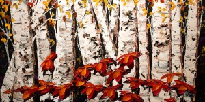 "SOLD ""The Gathering"" (PE-171116) by Maya Eventov 24 x 48 - acrylic $2755 Unframed"