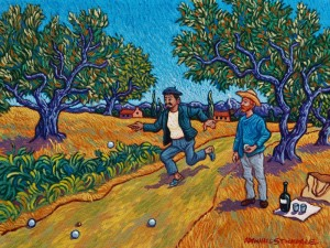 """""""Gauguin Introduces Vincent to the Game of Boules,"""" by Michael Stockdale 9 x 12 - acrylic $500 Unframed"""