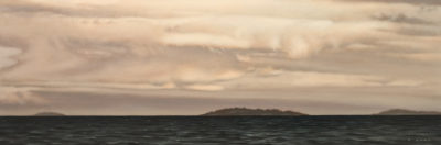 """Georgia Strait Cloud Cover,"" by Ray Ward 8 x 24 - oil $1425 Unframed"