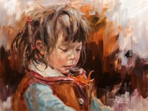 "SOLD ""Girl From Lhasa,"" by Donna Zhang 18 x 24 – oil $3460 Unframed"