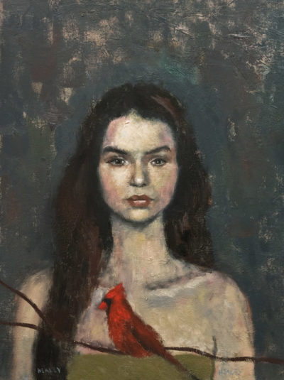 """Girl with Cardinal,"" by Paul Healey 12 x 16 - oil $700 Unframed"