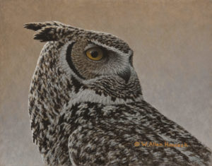 "SOLD ""Great Horned Owl,"" by W. Allan Hancock 8 x 10 - acrylic $900 Unframed"