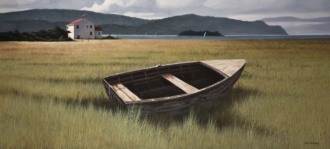 """Grounded"" by Keith Hiscock 20 x 44 - oil $8500 Custom framed"