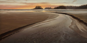 "SOLD ""Horizon Afterglow,"" by Ray Ward 15 x 30 – oil $2450 Unframed"