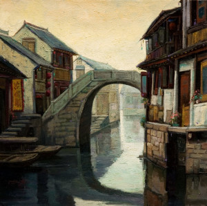 "SOLD ""Houses on the Canal, Suzhou,"" by Dongmin Lai 12 x 12 – oil $1400 Framed"