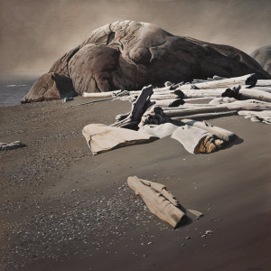 "SOLD ""Incoming Fog, Fisgard Beach,"" by Keith Hiscock 30 x 30 – oil $6500 Unframed"