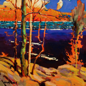 "SOLD ""In Praise of Tom Thomson,"" by Michael O'Toole 10 x 10 – acrylic $685 (thick canvas wrap without frame)"