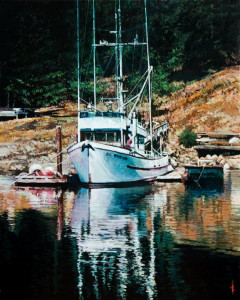 "SOLD ""Island Dock,"" by Alan Wylie 16 x 20 – acrylic $3800 Unframed"