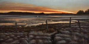 "SOLD ""January Dawn, Jensen's Bay Tidal Flats,"" by Ray Ward 30 x 60 – oil $6750 (thick canvas wrap without frame)"