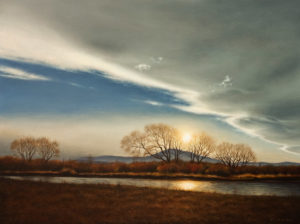 "SOLD ""January Sun,"" by Ray Ward 18 x 24 – oil $2360 Unframed"