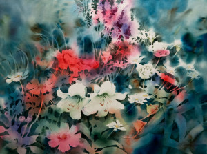 """Garden Flowers"" by Joyce Kamikura 22 x 29 - watercolou $2655 Framed"
