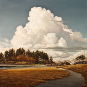 "SOLD ""Lagoon Path,"" by Ray Ward 24 x 24 – oil $2620 Unframed"