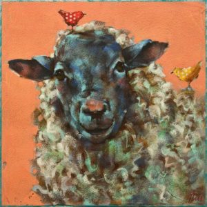 """SOLD """"Larry, Curly and Mo,"""" by Angie Rees 10 x 10 - acrylic $675 (unframed panel with 1 1/2"""" edging)"""