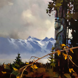 "SOLD ""Last Sentinel,"" by Michael O'Toole 36 x 36 – acrylic $4925 (thick canvas wrap without frame)"