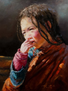 "SOLD ""A Learning Moment,"" by Donna Zhang 12 x 16 – oil $1620 Unframed $1975 Custom framed"