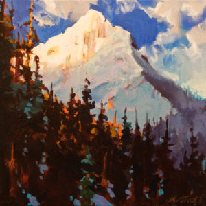 "SOLD ""A Light Moment in Rogers Pass,"" by Michael O'Toole 12 x 12 – acrylic $910 Unframed"