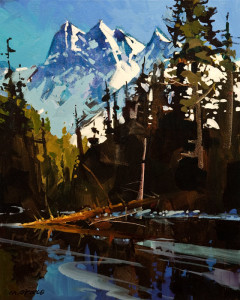 """SOLD """"Light Play in the Rockies,"""" by Michael O'Toole 16 x 20 – acrylic $1375 Unframed"""