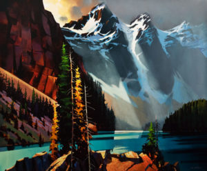 "SOLD ""Light Shaft, Moraine Lake,"" by Michael O'Toole 40 x 48 – acrylic $7200 Unframed"