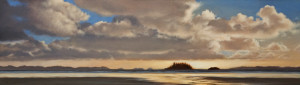 "SOLD ""Long Beach Panorama,"" by Ray Ward 6 x 21 – oil $980 Unframed"