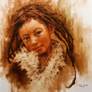 """Long Braids,"" by Donna Zhang 24 x 24 - oil $4300 Unframed"