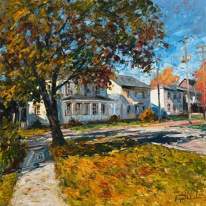 "SOLD ""Lumière d'automne, Baie St. Paul,"" by Raynald Leclerc 24 x 24 – oil $2750 Unframed"