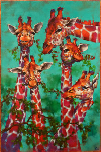 """The Lunch Ladies,"" by Angie Rees 20 x 30 - acrylic $2150 (unframed panel with 1 1/2"" edging)"