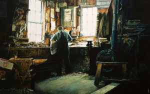 "SOLD ""Lunenberg Dorymaker,"" by Alan Wylie 25 x 40 – oil $9400 Unframed"