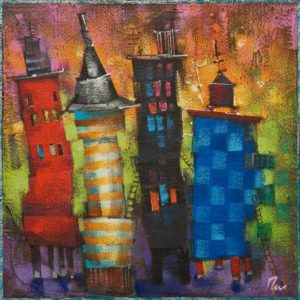 """Itty Bitty City Series: Mango Tango,"" by Angie Rees 8 x 8 - acrylic $425 (unframed panel with 1 1/2"" edging)"