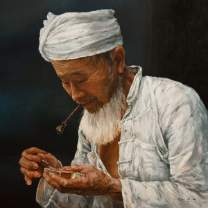 "SOLD ""The Matchbox,"" by Donna Zhang 30 x 30 – oil $5840 Unframed"
