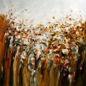 """Meadow Play"" by Carole Arnston 40 x 40 - oil $3800 Unframed"