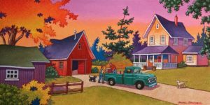 """SOLD """"Meanwhile at the Farm…,"""" by Michael Stockdale 10 x 20 – acrylic $690 Unframed"""