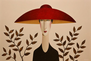 "SOLD ""Michele and the Red Hat,"" by Danny McBride 24 x 36 – acrylic $3400 Unframed"