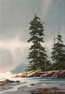 "SOLD ""Misty Beach,"" by Keith Hiscock 14 x 20 – oil $1900 Unframed"