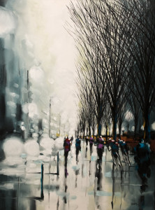 """Misty Boulevard"" by Harold Braul 36 x 48 - oil $3300 Unframed"