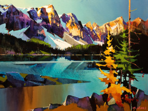 "SOLD ""Moraine Lake in Many Colours,"" by Michael O'Toole 18 x 24 – acrylic $1680 Unframed"