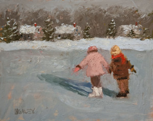 "SOLD ""New Skates"" by Paul Healey 8 x 10 - oil $400 Unframed $620 in show frame"