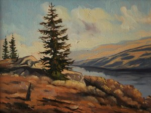 """Nicola Lake"" by Arnold Mosley 9 x 12 - oil on canvas"