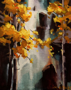 "SOLD ""October Falls,"" by Michael O'Toole 8 x 10 – acrylic $575 Unframed $810 Custom framed"
