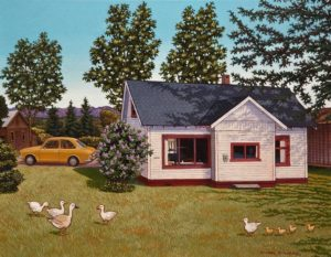 "SOLD ""Old Memories,"" by Michael Stockdale 14 x 18 – acrylic $770 Unframed This painting was commissioned by clients who wanted to preserve the memory of their cherished family home, now gone. The exact car also belonged to the scene, but the geese and ducks were Michael Stockdale's artistic licence!"