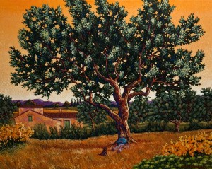 "SOLD ""The Olive Grove,"" by Michael Stockdale 24 x 30 – acrylic $1630 Unframed"