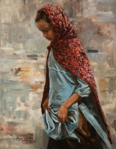 "SOLD ""On Her Way,"" by Donna Zhang 14 x 18 – oil $2060 Unframed"