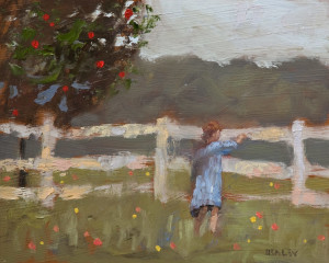 "SOLD ""Over the Fence,"" by Paul Healey 8 x 10 – oil $450 Unframed"