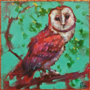 """Peepers,"" by Angie Rees 8 x 8 - acrylic $425 (unframed panel with 1 1/2"" edging)"