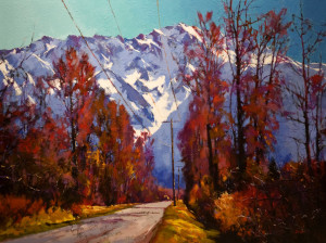 """SOLD """"Pemberton Valley Road,"""" by Mike Svob 36 x 48 – acrylic $8860 (thick canvas wrap without frame)"""