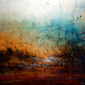 """SOLD """"A Place to Wonder,"""" by Laura Harris 48 x 48 – acrylic $7280 (thick canvas wrap without frame)"""