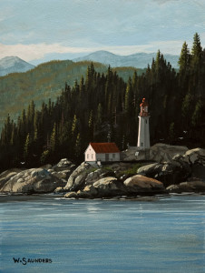 "SOLD ""Point Atkinson,"" by Bill Saunders 6 x 8 – acrylic $500 Unframed $685 Custom framed"